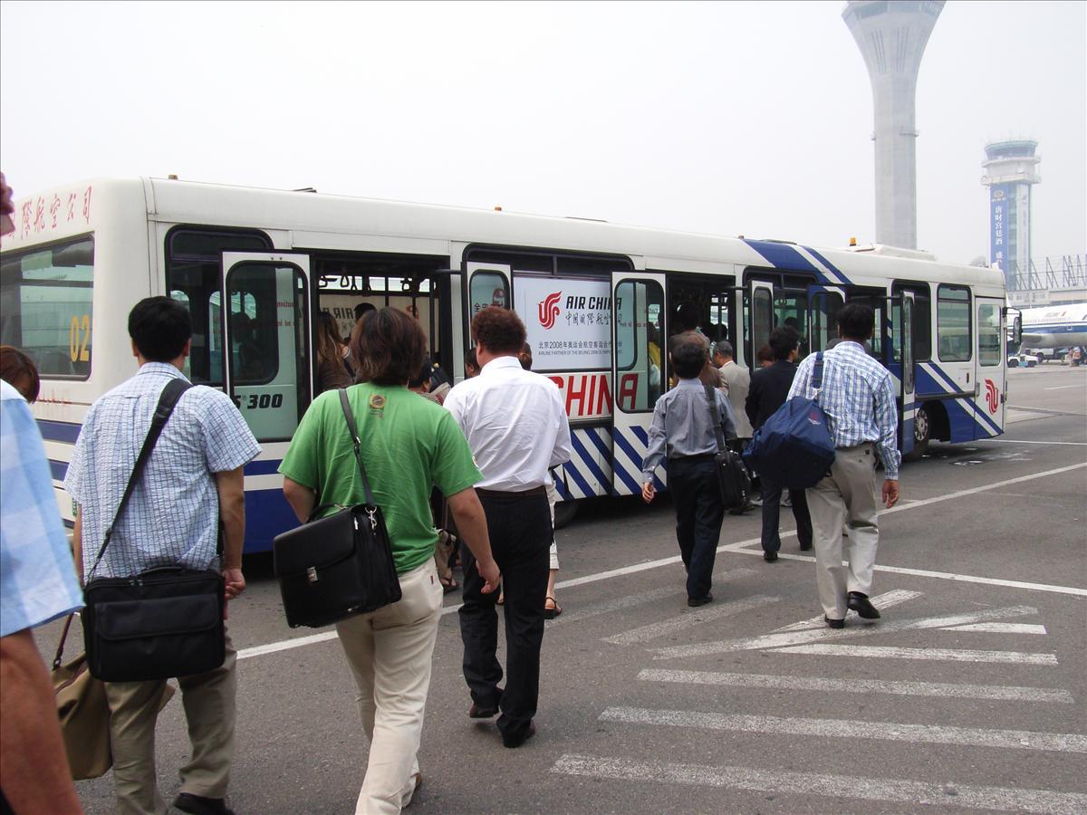 北京空港内のリムジンバスに乗って