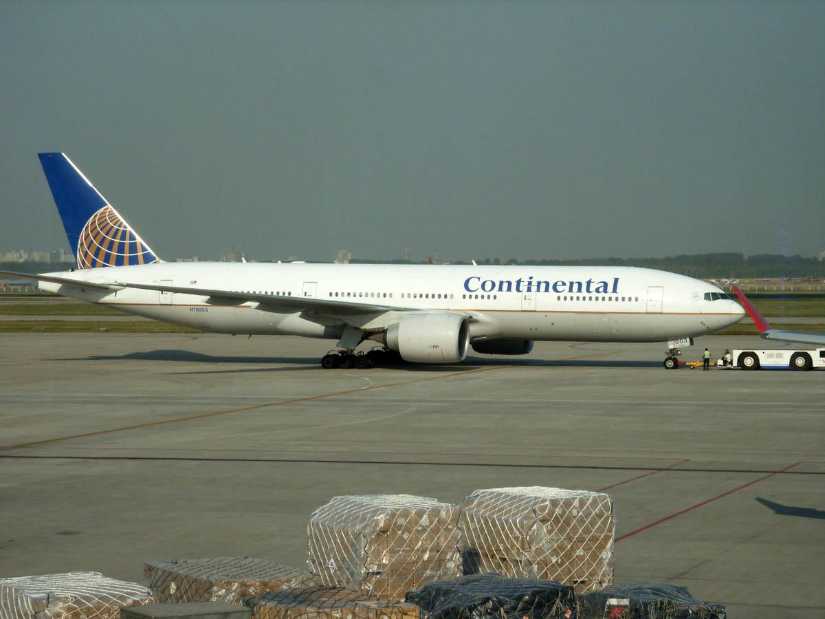 北京空港 コンチネンタル航空機